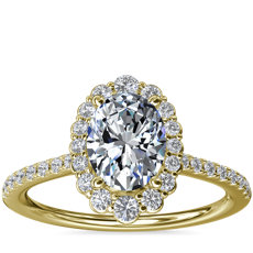 Crescendo Oval Halo Diamond Engagement Ring in 14k Yellow Gold (1/3 ct. tw.)