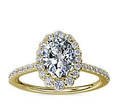 14k 金渐强变化椭圆形光环钻石订婚戒指(1/3 克拉总重量)