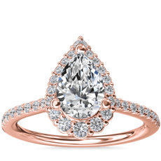 Crescendo Pear Halo Diamond Engagement Ring in 14k Rose Gold (1/3 ct. tw.)