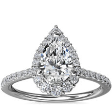 Crescendo Pear Halo Diamond Engagement Ring in 14k White Gold (1/3 ct. tw.)