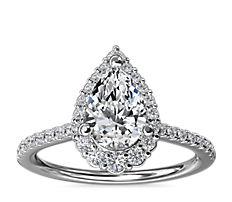 14k 白金圓弧曲線梨形光環鑽石訂婚戒指(1/3 克拉總重量)