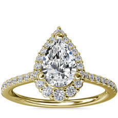 Crescendo Pear Halo Diamond Engagement Ring in 14k Yellow Gold (1/3 ct. tw.)