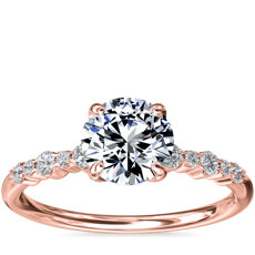 Crescendo Petite Diamond Engagement Ring in 14k Rose Gold (1/6 ct. tw.)