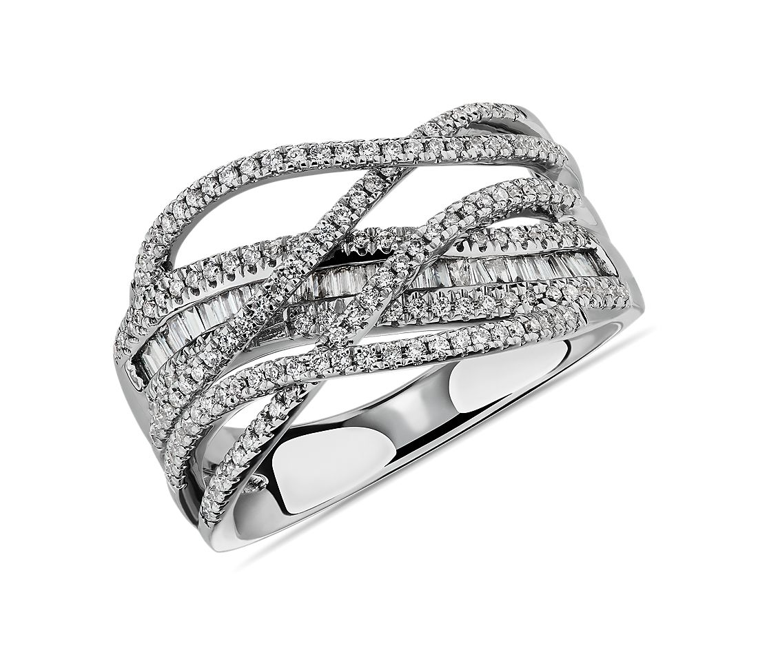 Criss-Cross Diamond Fashion Ring in 14k White Gold (1/2 ct. tw.)