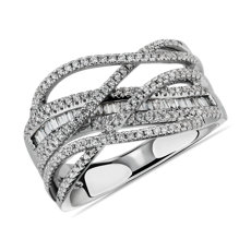 NEW Criss-Cross Diamond Fashion Ring in 14k White Gold (1/2 ct. tw.)