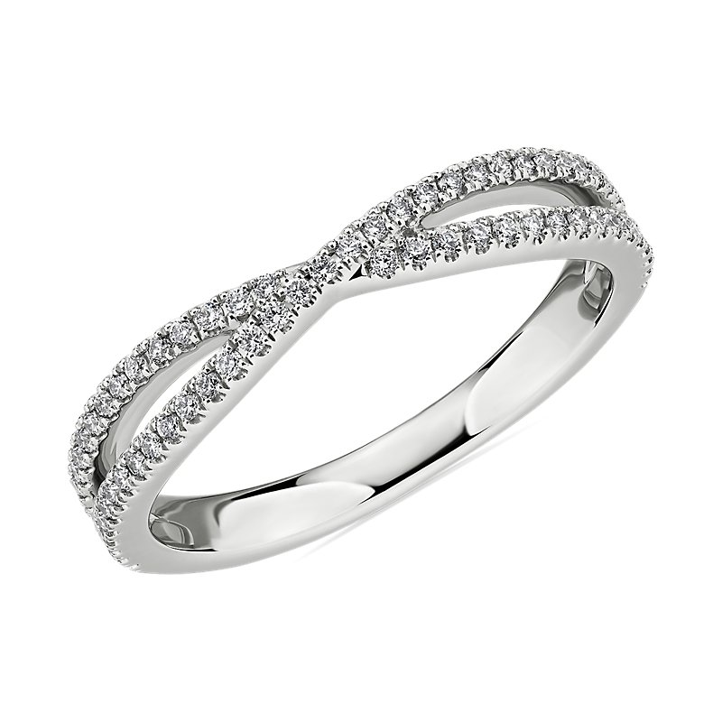 Crisscross Pavé Diamond Wedding Ring in 14k White Gold (1/