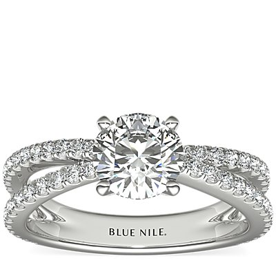 Crisscross Pave Engagement Ring in 14K White Gold