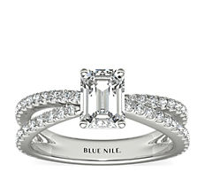 Crisscross Pave Engagement Ring in 14K White Gold (0.51 ct. tw.)