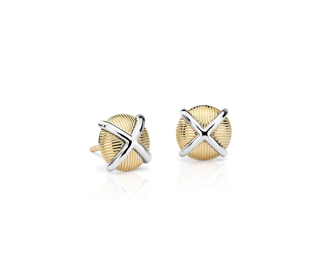 Frances Gadbois Crisscross Strie Stud Earrings in 14k Yellow Gold and Sterling Silver