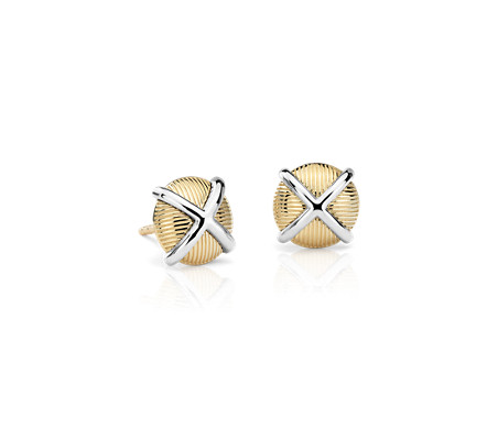 Crisscross Strie Stud Earrings in 14k Yellow Gold and Sterling Silver