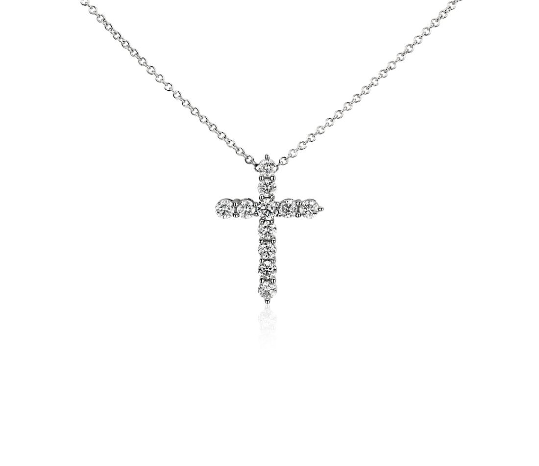 Diamond Cross Pendant in 14k White Gold (3/4 ct. tw.)
