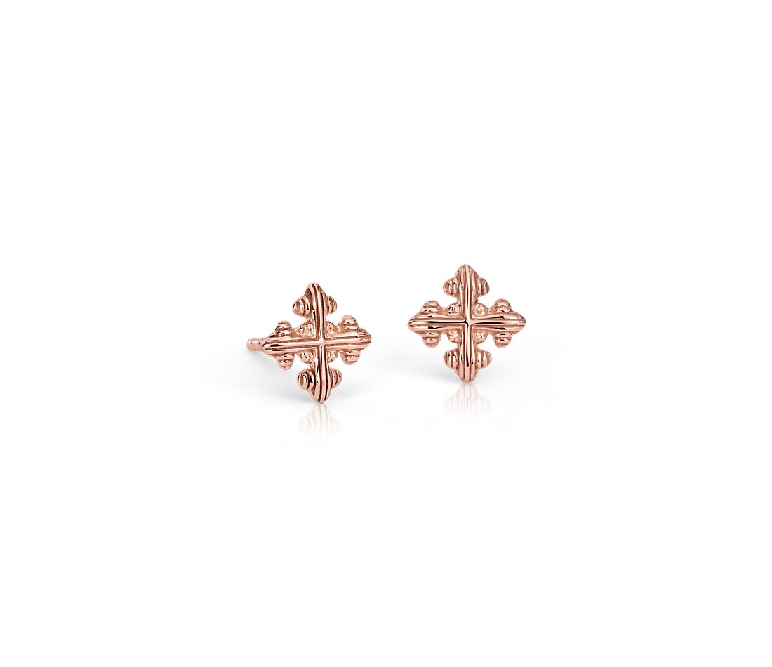 Cross Stud Earrings in 18k Rose Gold