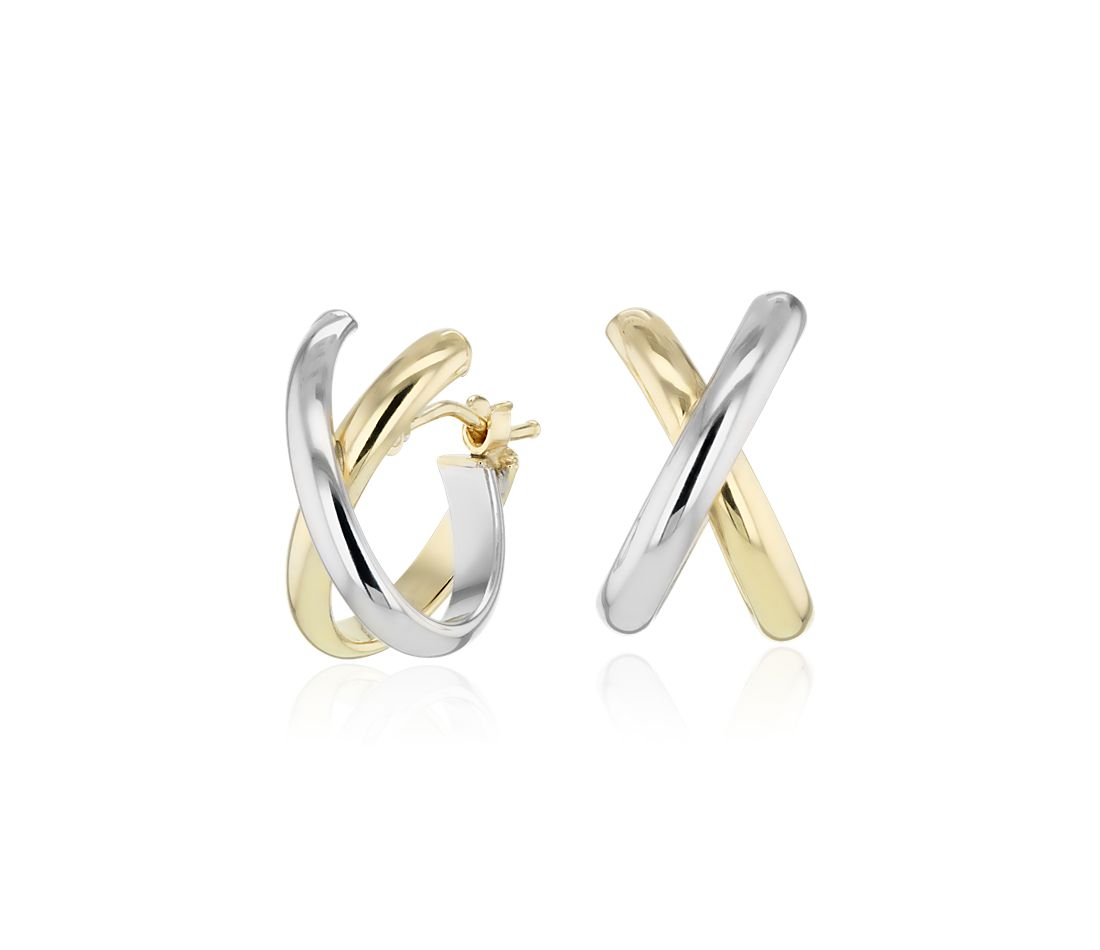 Crossed Huggie Earrings In 14k Yellow And White Gold