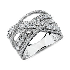 NEW Crossover Diamond Fashion Ring in 14k White Gold (1 1/2 ct. tw)