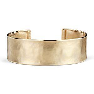 Bracelet manchette en satin en or jaune 14carats