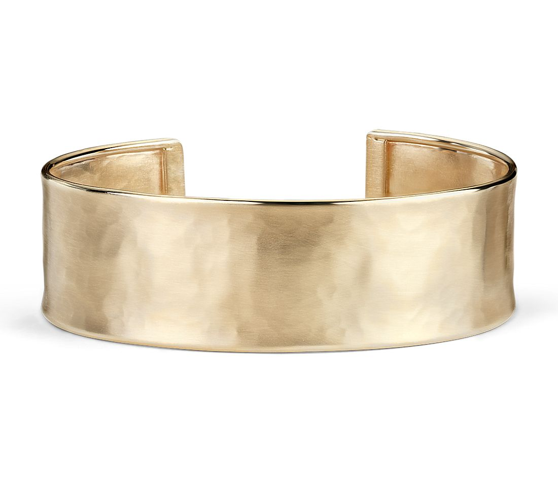 Satin Cuff Bracelet In 14k Italian Yellow Gold