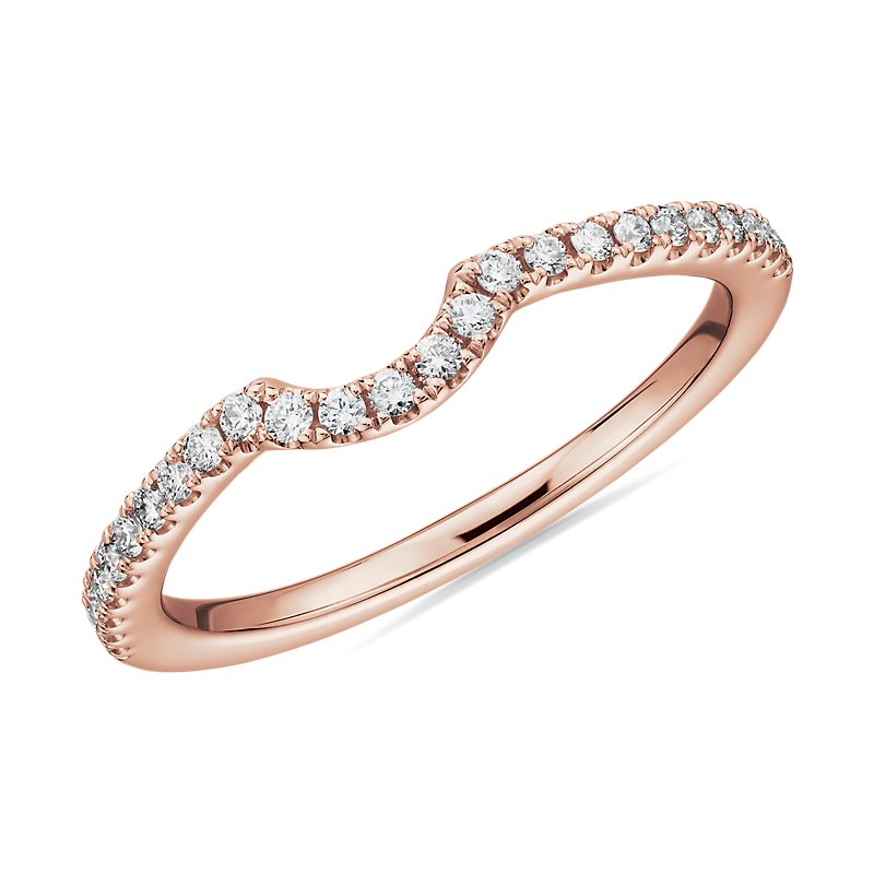 Curved Pavé Diamond Anniversary Band in 14k Rose Gold (1/6