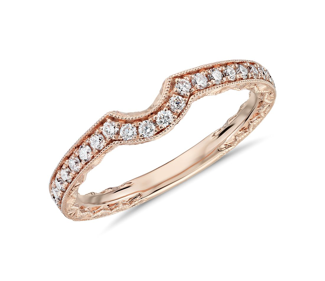 Curved Diamond and Milgrain Engraved Profile Wedding Ring in 14k Rose Gold (1/4 ct. tw.)