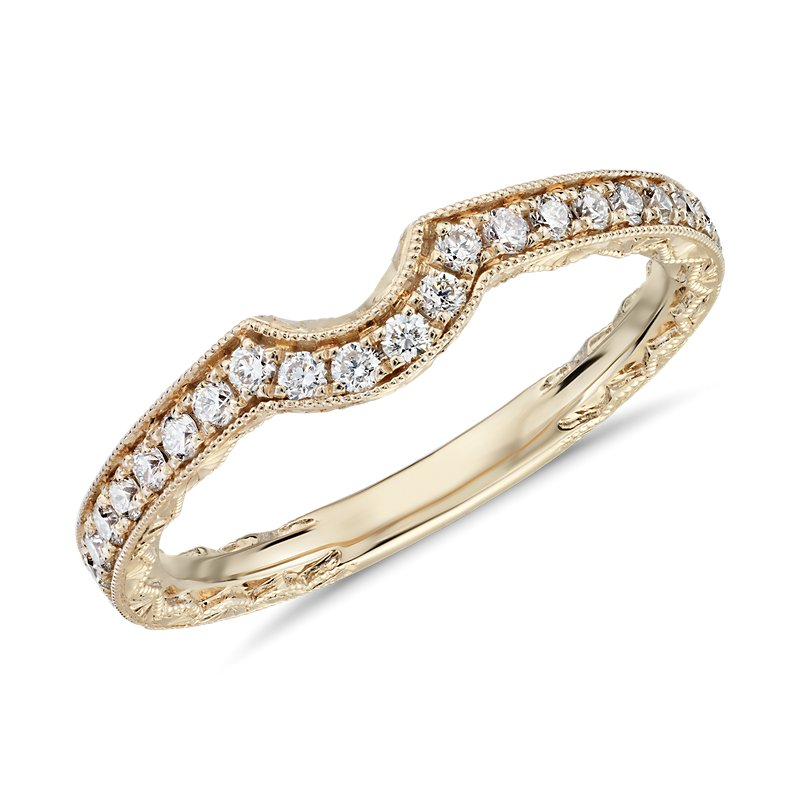 Curved Diamond and Milgrain Engraved Profile Wedding Ring in 14k