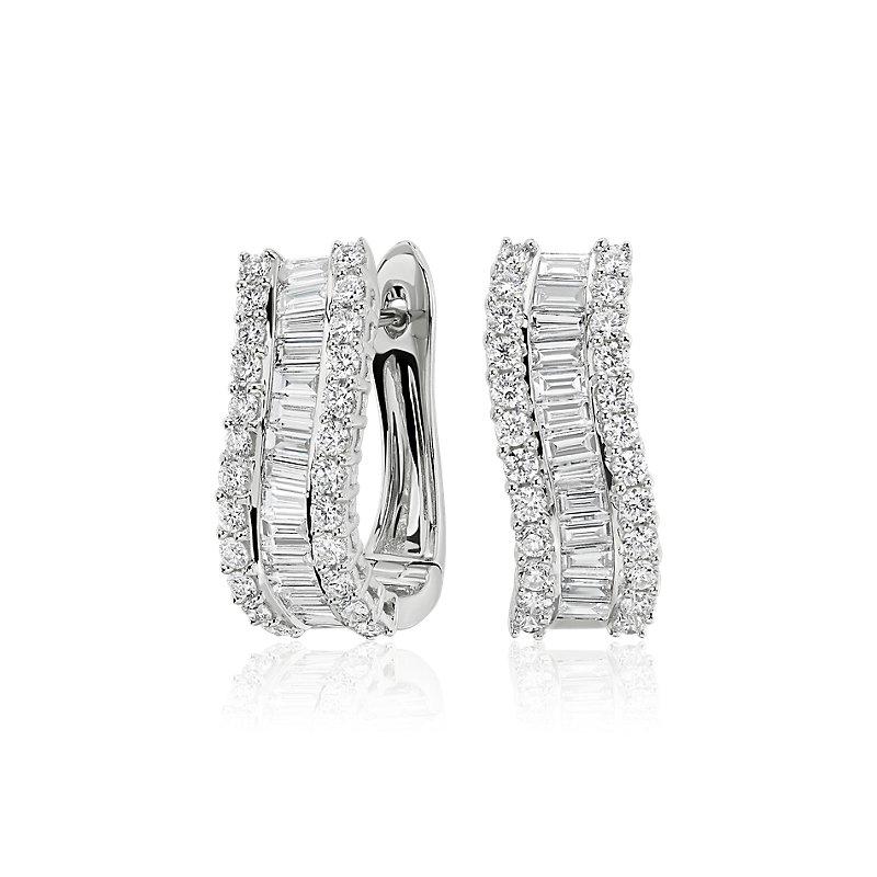 Curved Diamond Baguette Hoop Earrings in 14k White Gold (2 ct. tw