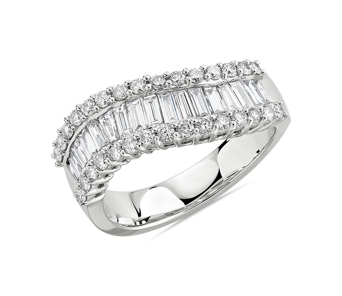 Curved Diamond Baguette Ring in 14k White Gold (1 1/5 ct. tw.)