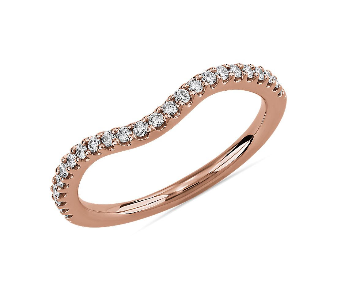 Curved Diamond Wedding Ring in 14k Rose Gold (1/5 ct. tw.)