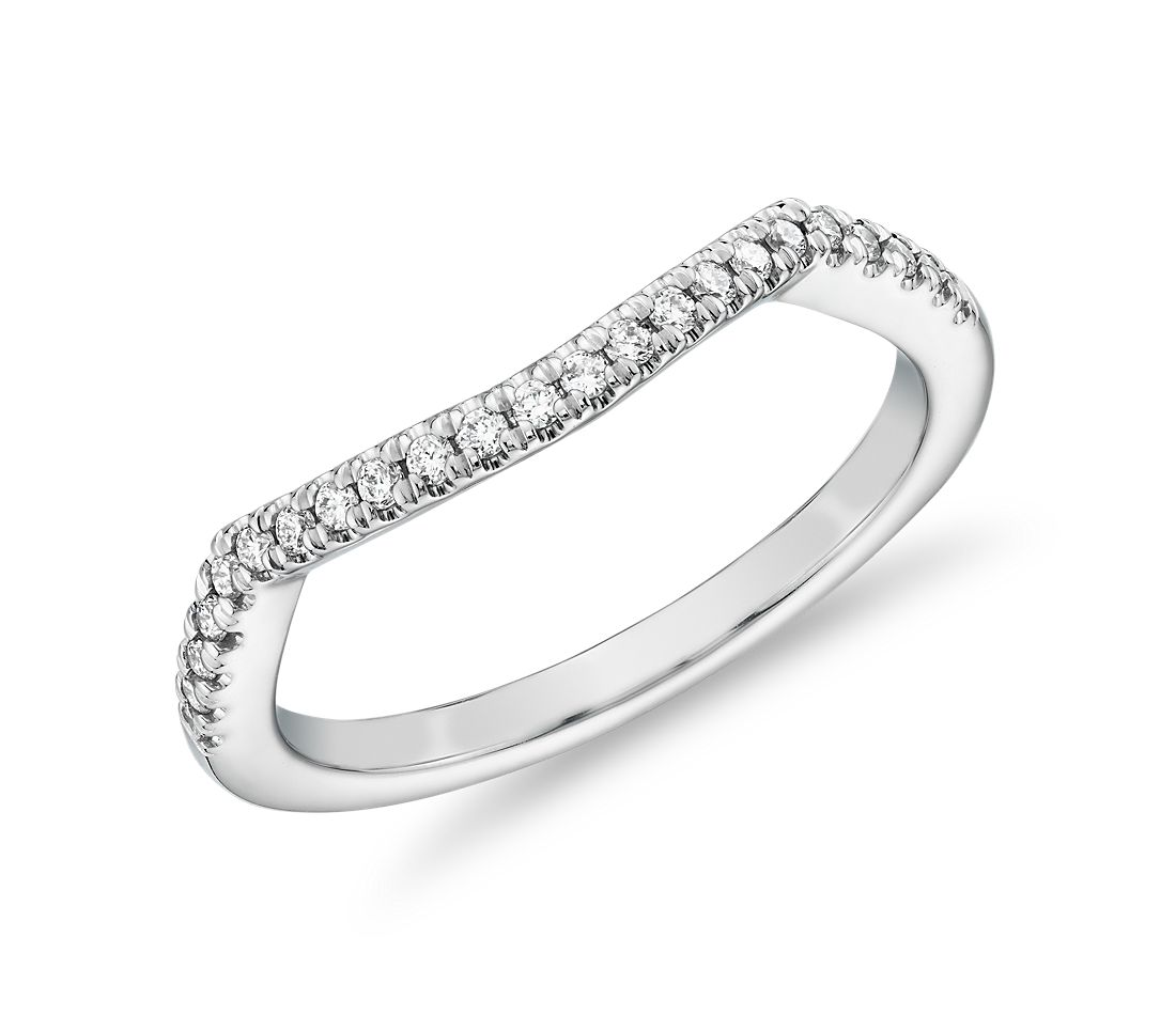 Curved Twist Halo Diamond Wedding Ring in 14k White Gold (1/8 ct. tw.)