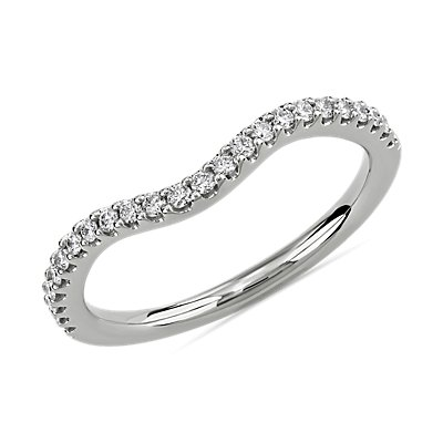 Curved Diamond Wedding Ring in 14k White Gold (1/5 ct. tw.)