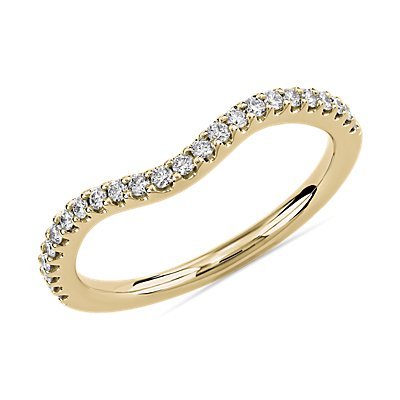 Curved Diamond Wedding Ring in 14k Yellow Gold (1/5 ct. tw.)