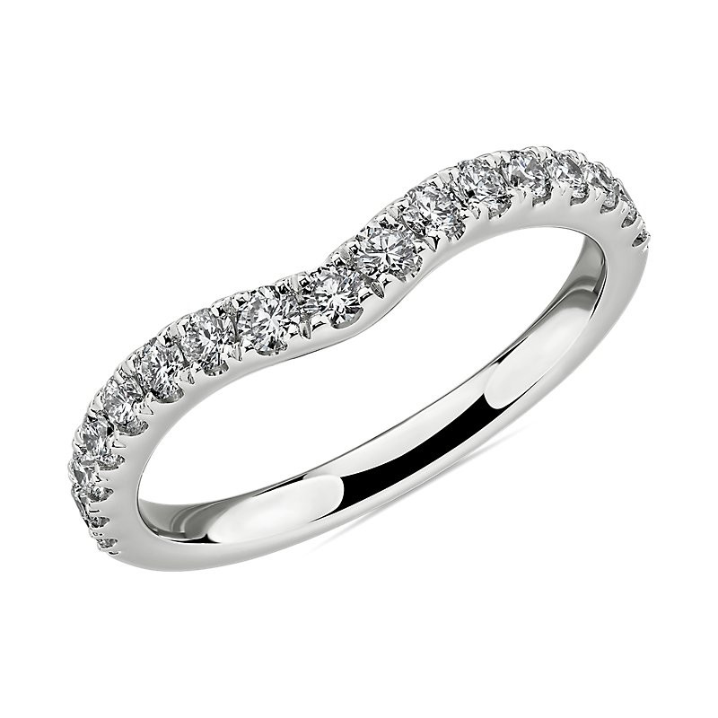 Curved Diamond Wedding Ring in 14k White Gold (1/2 ct. tw.)