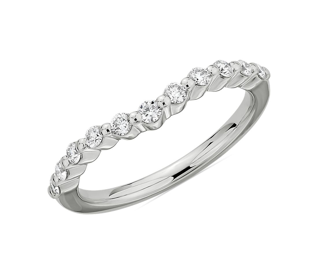 Curved Floating Diamond Wedding Ring in 14k White Gold (1/4 ct. tw.)