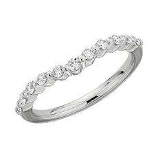 NEW Curved Alliance diamant flottant in or blanc 14 carats (1/4 carat, poids total)