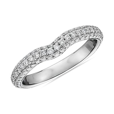 Curved Micropavé Rollover Diamond Anniversary Band in 14k White Gold (5/8 ct. tw.)