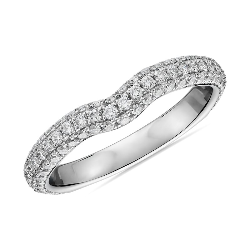 Curved Micropavé Rollover Diamond Anniversary Band in 14k