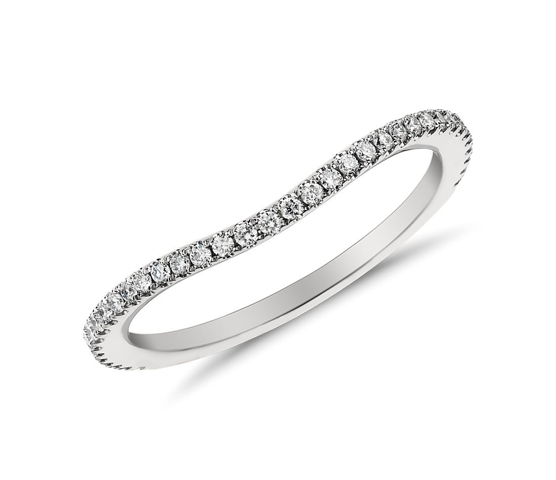 curved pave diamond ring wedding band curved Monique Lhuillier Curved Pav Diamond Ring in Platinum 1 5 ct tw