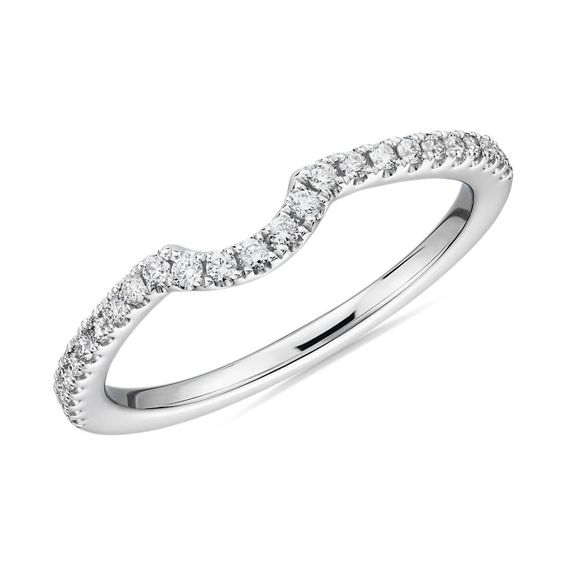 Curved Pavé Diamond Wedding Ring in 14k White Gold (1/6 ct