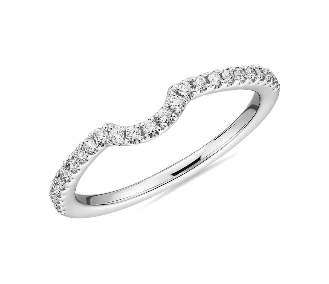 Curved Pavé Diamond Wedding Ring in Platinum (1/6 ct. tw.)