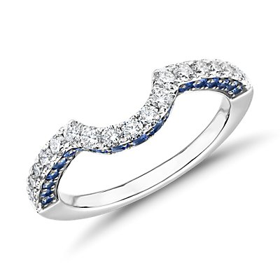 Curved Sapphire and Diamond Ring in 14k White Gold