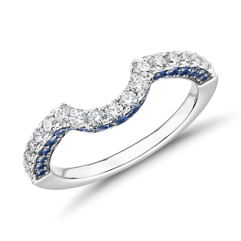 Curved Sapphire and Diamond Ring in 14k White Gold (1/3 ct. tw.)