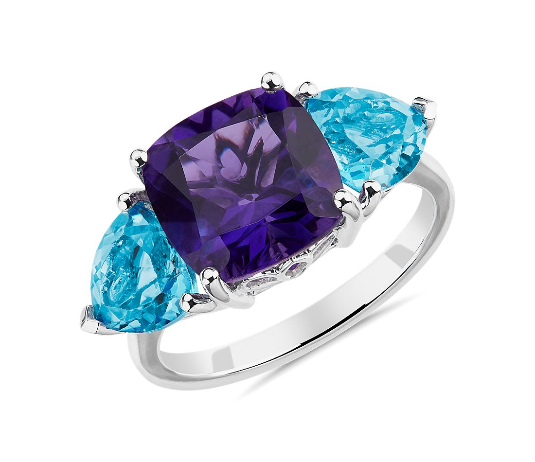 Cushion Amethyst and Blue Topaz Trillion Ring in 14k White Gold