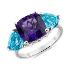 NEW Cushion Amethyst and Blue Topaz Trillion Ring in 14k White Gold