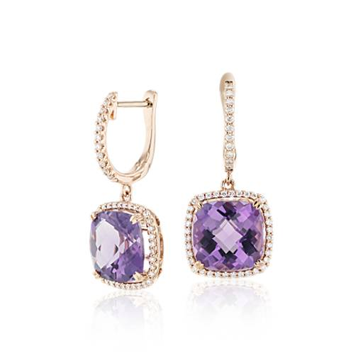 Cushion Cut Amethyst And Diamond Halo Drop Earrings In 14k