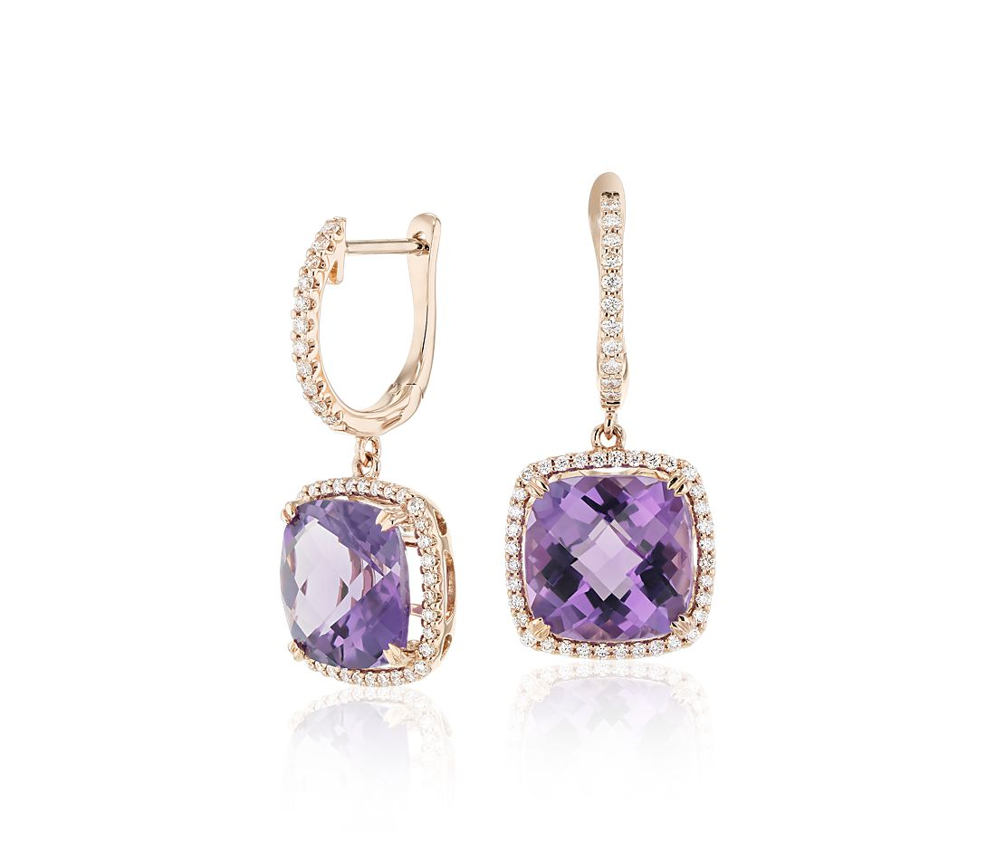 Cushion Cut Amethyst and Diamond Halo Drop Earrings in 14k Rose Gold (9mm)