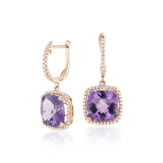 Cushion Cut Amethyst And Diamond Halo Drop Earrings In 14k Rose Gold 9mm