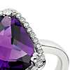 Amethyst and Diamond Halo Cushion-Cut Ring in 14k White Gold