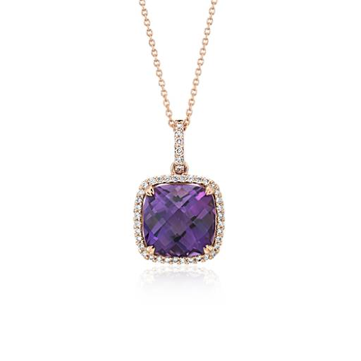Blue Nile Cushion-Cut Amethyst Diamond Halo Pendant in 14k White Gold (13mm) 81dqw1mj8