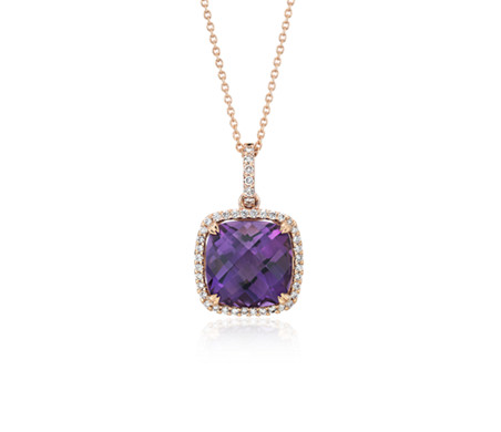 Cushion Cut Amethyst Pendant with Diamond Halo in 14k Rose Gold (10.5mm)