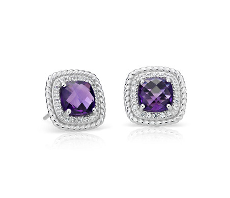 Blue Nile Corda Cushion-Cut Amethyst Halo Ring in Sterling Silver (8mm) nbtCU57