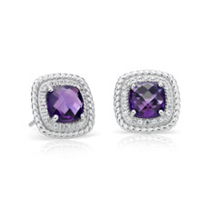 Corda Cushion-Cut Amethyst Halo Earrings in Sterling Silver (8mm)