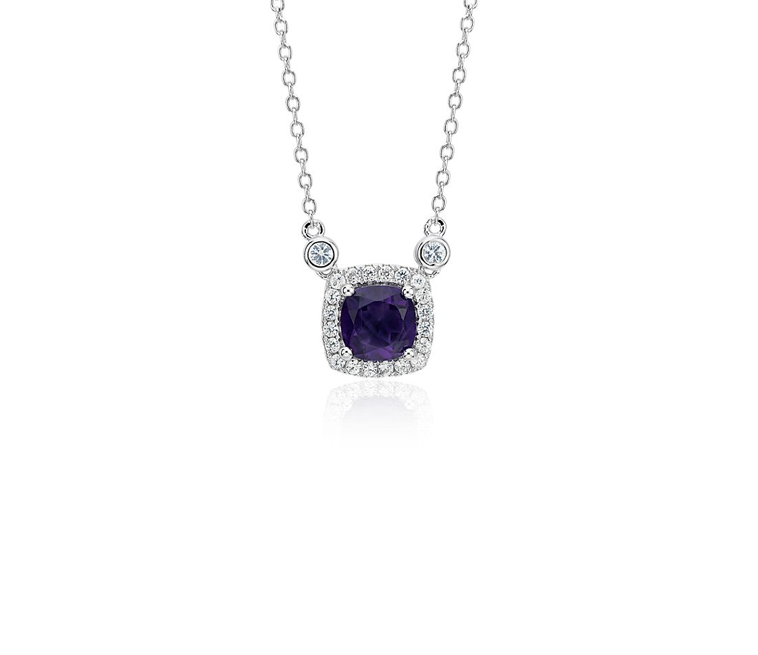 Cushion Amethyst White Topaz Halo Pendant in Sterling Silver